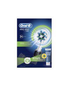 Oral B Pro 650 Black Powerbrush & Toothpaste